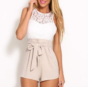 Pants - White and Beige Lace Waist Tie Bow Romper